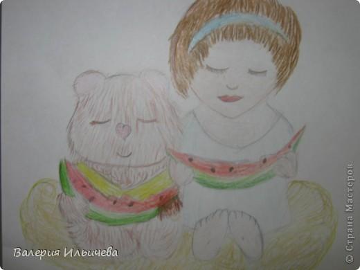 Это девочка и медвежонок сидящие на облаке кушая арбузы. фото 1