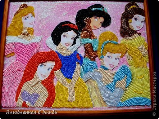 Добрый день! Представляю Вашему вниманию, свою работу, посвященную Дню принцесс. Я очень обрадовалась, когда дракончик предложил мне этот день. Ведь в душе у каждой девочки/девушки, живет принцесса. На этой картине вышиты принцессы из различных мультфильмов Уолта Диснея: фото 3