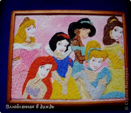 Добрый день! Представляю Вашему вниманию, свою работу, посвященную Дню принцесс. Я очень обрадовалась, когда дракончик предложил мне этот день. Ведь в душе у каждой девочки/девушки, живет принцесса. На этой картине вышиты принцессы из различных мультфильмов Уолта Диснея: фото 4