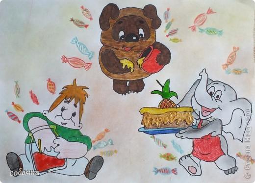 Сладкоежка - это тот кто любит сладкое. В мультфильмах так много сладкоежек. Я собрала их вместе, чтобы устроить настоящий праздник. фото 1