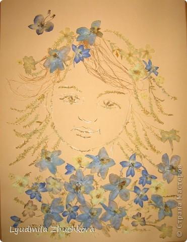 """Одно из направлений, по которму я работаю с детьми в своём объединении, это создание картин из плоскозасушенного природного материала-ошибана. """"Букет дельфиниума"""" выполнен из листьев от початков кукурузы, лепестков розы, осенних листьев камчатской гречихи, разных травинок, цветов жасмина, незабудок и, конечно, дельфиниума. фото 2"""