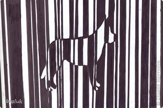Полосатая собака в стиле оптического искусства. фото 1