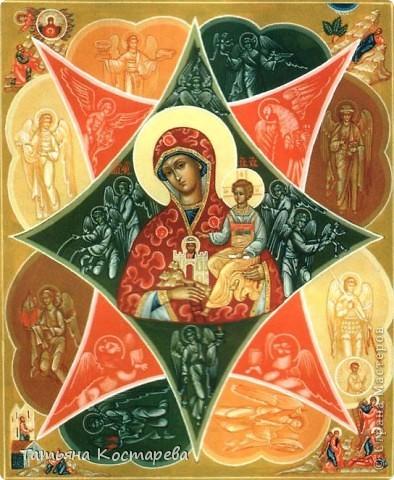 Икона Божией Матери «Неопалимая Купина». Этот древний образ отражает ветхозаветное событие, описанное в книге Исход (главы 3, 4): на Синае пророк Божий Моисей увидел куст, горящий и несгорающий, и из него с Моисеем говорил Бог. Куст Купины, не сгоравший в огне, стал прообразом Божией Матери, оставшейся «в Рождестве и по Рождестве» Девой.  фото 2