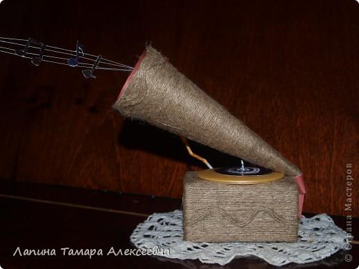 Л. Скотт французский типограф первый построил в 1857 году прибор для записи звуковых колебаний. При разговоре на поверхности цилиндра перед рупором получалась запись звуковых колебаний. Но Скотт не решил обратной задачи - воспроизведения записанных колебаний. А я в своем граммофоне попыталась решить эту проблему вот так. фото 1