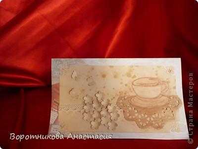 Без чая и кофе трудно представить себе жизнь современного человека. В одних странах отдают предпочтение чаю, а в других - кофе. Я в первый раз попробовала сделать открытку, которую посвящаю любителям растворимого кофе.  фото 1