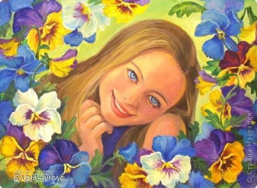 Девушка в анютиных глазках фото 7