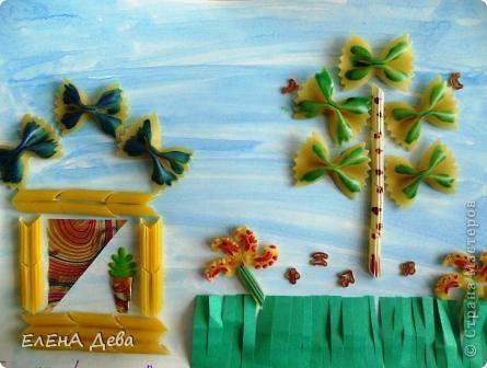 Решила к празднику сделать пейзаж из макарон. Построила домики и деревце. фото 1