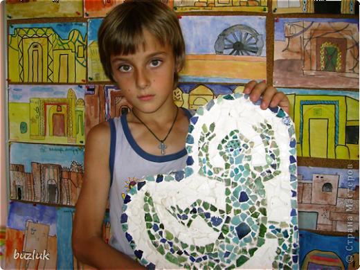 """""""Ящерица""""- мозаичное панно из осколков керамики 13-14 века. фото 4"""
