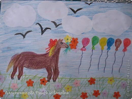 Еще одна работа Леры. Уж очень ей хотелось нарисовать лошадку. фото 1