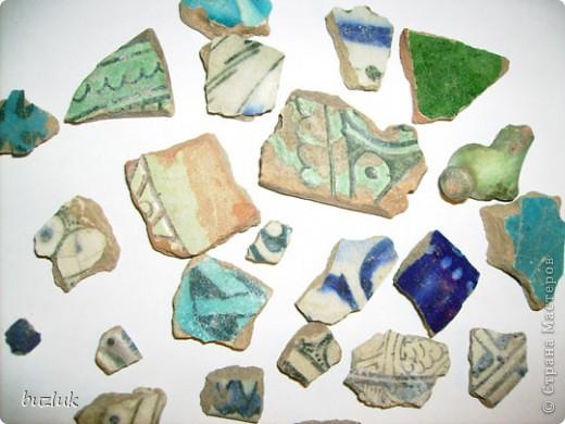 """""""Ящерица""""- мозаичное панно из осколков керамики 13-14 века. фото 2"""