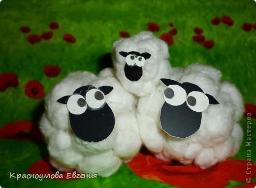 Поделка овечки из ваты