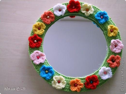 «Свет мой, зеркальце! скажи, Да всю правду доложи.. (А.С.Пушкин) Вот какой наряд появился у нашего зеркала! Я очень люблю лето, цветы, вот и получилась такая жизнерадостная цветочная полянка.  фото 1