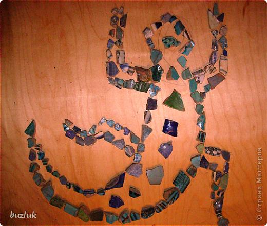 """""""Ящерица""""- мозаичное панно из осколков керамики 13-14 века. фото 3"""