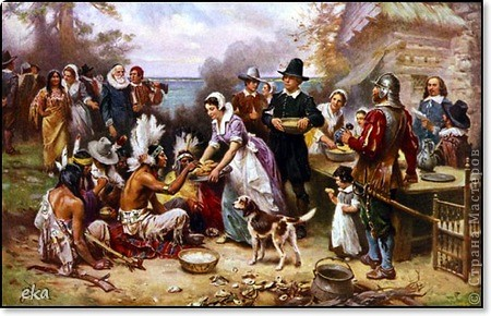 По значимости День благодарения (Thanksgiving Day) входит в тройку самых популярных празднеств США и широко отмечается наравне с Пасхой и Рождеством. В День благодарения американцы посещают церковь, после чего в узком семейном кругу собираются за праздничным столом для того, что бы отведать традиционные блюда этого праздника – запеченную индейку и тыквенный пирог. фото 3