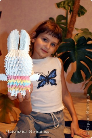 Я очень люблю животных. Свою работу я выполнила в технике модульного оригами.  фото 6