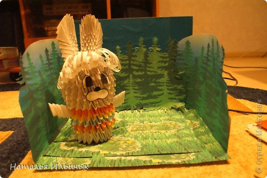 Я очень люблю животных. Свою работу я выполнила в технике модульного оригами.  фото 4