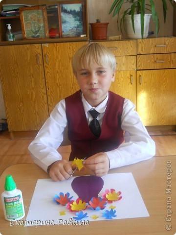 """На праздник своему учителю я приготовил аппликацию """"Цветы в вазе"""". фото 2"""
