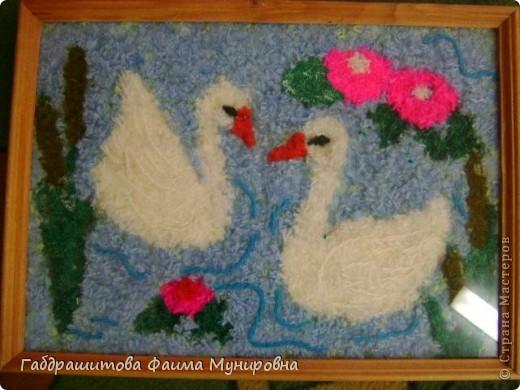 Я  хочу,  чтобы в  нашей жизни всегда царила верная и чистая любовь. Поэтому  сделала вот такую картину, пару  белых лебедей.  Назвала свою творческую работу «  Лебединый дуэт». фото 1