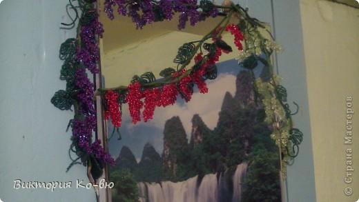 """Виноградную лозу сделала """"переносную"""". Можно менять ее местоположение в зависимости от настроения(шкаф, стена, зеркало и т. д.)!Остановилась на этом варианте так, как зеркало за счет отражения  визуально увеличивает  объем! фото 5"""