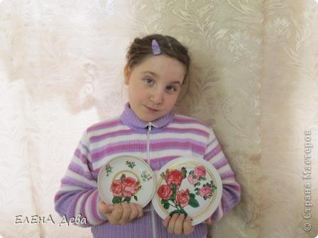 Ко Дню тарелки решила украсить блюдце и тарелочку розами в технике декупажа. фото 3