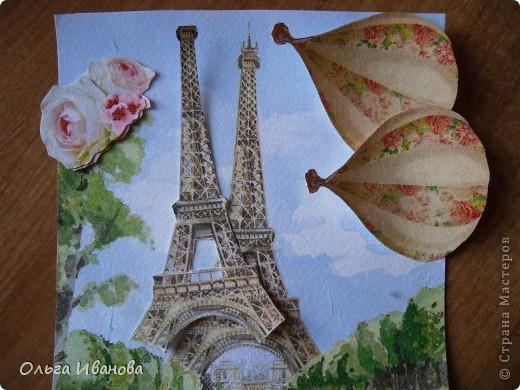 """Работу назвала """"Мечты о Париже"""". Использовала салфетки в любимой мною технике объемной аппликации. фото 3"""