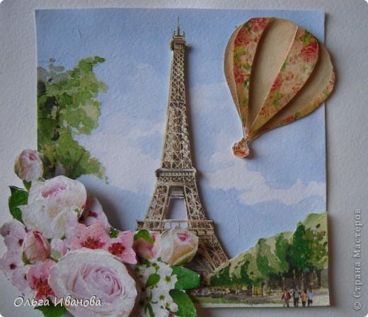 """Работу назвала """"Мечты о Париже"""". Использовала салфетки в любимой мною технике объемной аппликации. фото 1"""