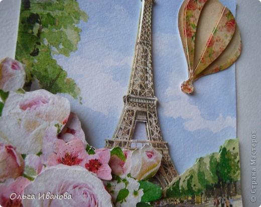 """Работу назвала """"Мечты о Париже"""". Использовала салфетки в любимой мною технике объемной аппликации. фото 2"""