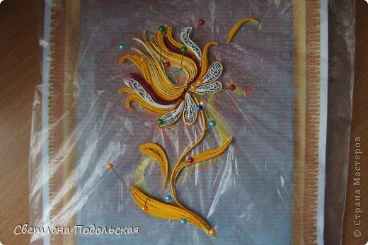 Как то вечером я искала на просторах интернета очередное вдохновение для творчества ,и наткнулась на необыкновенной красоты шитье-ЗОЛОТНОЕ шитье. Оно настолько поразило меня своей самобытностью и богатством,что мне непременно захотелось воплотить небольшую работу в квиллинге. Вот что у меня получилось. Волшебный цветок.  фото 3