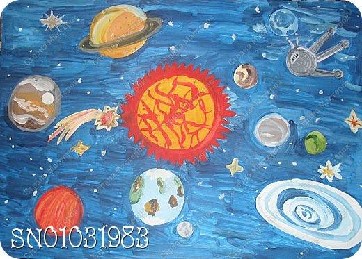 Я с самого первого дня хотела принять участие в конкурсе! И конечно же моя любимая техника-это рисование, ведь я уже 5 лет хожу в художественную школу. Решила изобразить в своей работе планеты солнечной системы, вот что получилось из этого. фото 1