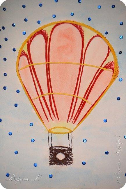 Воздушный шар выполнен в технике изонить фото 9