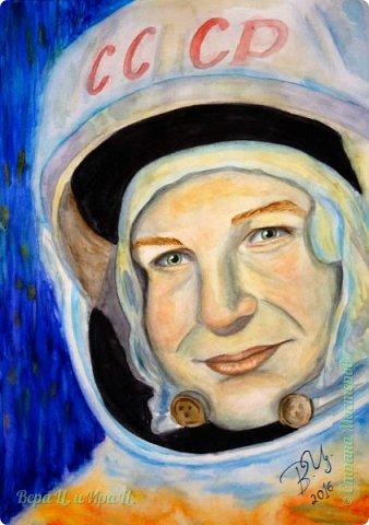 Свою работу я посвящаю моей землячке - Валентине Владимировне Терешковой - первой в мире женщине-космонавту. Свой полёт  Терешкова совершила 16 июня 1963 года на космическом корабле Восток-6, он продолжался почти трое суток. Всем известны позывной  Валентины Владимировны на время полёта - «Чайка» - и фраза, которую она произнесла перед стартом: «Эй! Небо! Сними шляпу!». фото 1