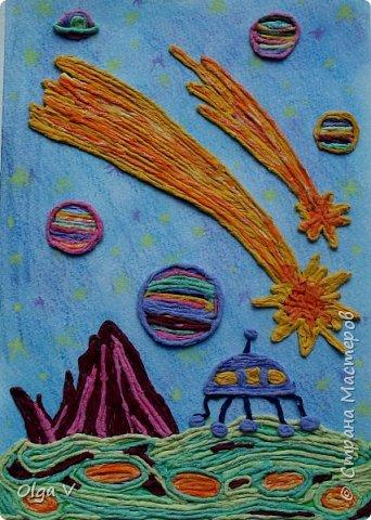 Здравствуйте, дорогие жители и гости Страны Мастеров. Представляю вашему вниманию работу ученика 4 класса Подтетерина Данила.   Просторы Вселенной пока еще исследованы очень мало. Они таят в себе массу неожиданного, возможно опасного.  Но человечество издавна стремилось к звездам, к далеким таинственным мирам! Возможно в будущем участники межпланетной экспедиции побывают и на такой планете. фото 1
