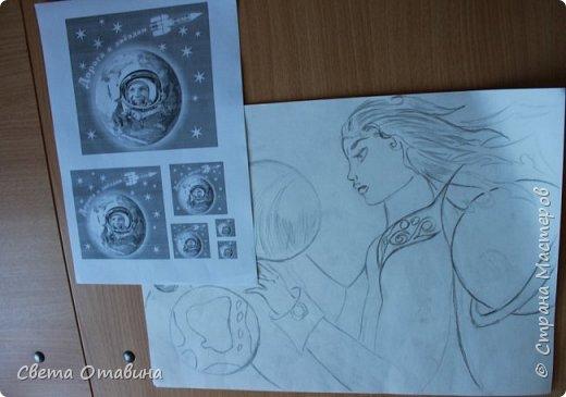 """Ульяне я  предложила поучаствовать в конкурсе """"Дорога к звездам"""". Девочке нравится рисовать, она заинтересовалась этой темой.  фото 2"""