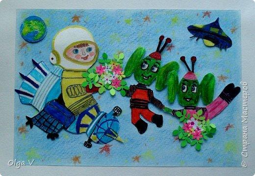 Здравствуйте, дорогие друзья! Поздравляем вас с Днем космонавтики!!   Наш ученик 4 класса Миша тоже захотел принять участие в конкурсе. Ему очень интересно, состоится ли контакт жителей Земли с представителями других планет? фото 1