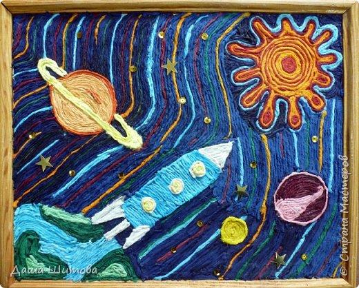 """Хочется представить вашему вниманию картину """"Полёт"""". Формат А-4, Выполнена в технике пейп-арт , по авторской технике Татьяны Сорокиной. Мой корабль покинул Землю и отправился в путешествие...пролетел Сатурн, в иллюминатор заглянули лучи солнца...Пролёт продолжается... фото 1"""