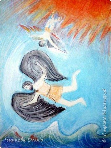 """Добрый день, всем-всем. Разрешите представить на конкурс работу моего сына Алексея, которую он выполнил в студии творческого развития, где занимается первый год. """"Человек может бегать, как олень, ползать, как рак, плавать. как рыба. И только летать, как птица, не может. Так веками думали люди, глядя на парящих в небе птиц. Думали и мечтали: """"Вот бы сесть на ковёр-самолёт и взлететь выше леса дремучего, выше облака летучего. Или сделать бы крылья из перьев и в небо подняться!"""" (Из книги """"Едем, плаваем, летаем...  К.Арлона и С.Сахарнова) Но долгое время крылатые люди существовали только в мифах и сказках. Прочитав миф о Дедале и Икаре, Алексей принялся за работу.  фото 1"""