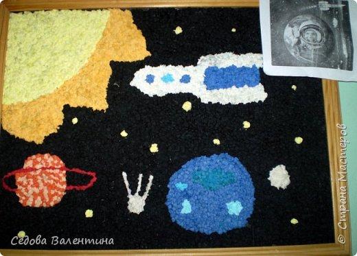 """Представляем вашему вниманию работу """"Космическое небо"""" Исмаиловой Назрин, выполненную в технике салфеточная аппликация. фото 5"""