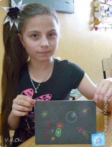 У одноклассника день рождения. Поспрашивала у его друзей об увлечениях - рисует какое-то фантастическое небо, звёзды. Решила подарить собственную открытку. фото 5