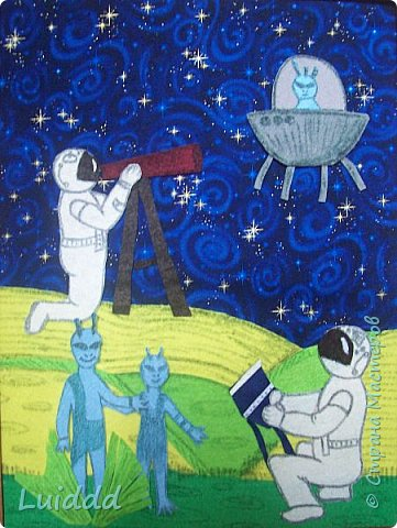 Здравствуйте жители планеты Страна Мастеров, приветствуем вас от имени всех инопланетян и представляем вашему вниманию нашу работу. Готовясь к конкурсу нас очень заинтересовал вопрос космических профессий. Предположив, что когда нибудь все равно будет найдена инопланетная цивилизация, мы предположили, что для  её изучения  как раз и понадобятся инопланетные этнографы - космонавты. Решили изобразить работу космонавтов - этнографов по изучению быта и передвижения инопланетян. Справка: Профессиональный этнограф (от греч.ethnos – племя, grapho – пишу) занимается изучением этнических общностей и народов-этносов, их быта, культуры, этногенеза, передвижений, расселений и культурно-исторических отношений. фото 5