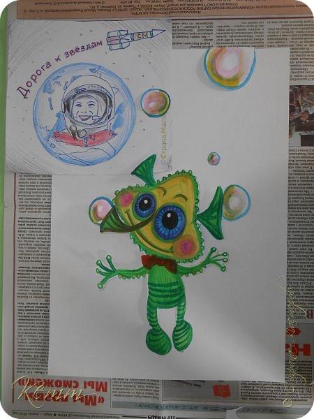 Вот такой Пузырёша получился у Алены,он любит пускать пузыри ушами,носом и даже пальцами,на которых у него колечки для пузырей,Пузырёша любит прыгать по мыльным лужам,а на его планете только такие мыльные лужи,и радовать всех друзей радужными пузырями фото 2