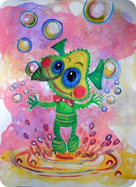 Вот такой Пузырёша получился у Алены,он любит пускать пузыри ушами,носом и даже пальцами,на которых у него колечки для пузырей,Пузырёша любит прыгать по мыльным лужам,а на его планете только такие мыльные лужи,и радовать всех друзей радужными пузырями фото 1