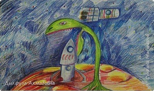 """Я выбрал тему межпланетная экспедиция, моя работа """"Загадочный Марс"""",возникла на основе фильма """"Марсианин"""". Все что,не известно по началу кажется страшным, затем становится загадочным, и возникает мысль изучить загадку. Так и экспедиция приземлившиеся  на планету Марс, увидели как гигантское растение ест ракету. Это растение ест все,что захочет, так спасает планет,у чтоб никто не навредил. К счастью рядом пролетала ракета, которая спасла экспедицию.       фото 1"""