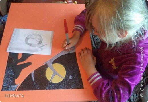 Долго обсуждали и выбирали объект воплощения.  Зарину привлекла полярная сова с ее белоснежным оперением и ярко-желтыми глазами. Панно выполнено в технике кинусайга. фото 5