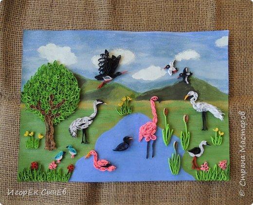 В своей работе я хочу отобразить многообразный вид пернатых занесенных в Красную книгу Алтайского края. Я постарался максимально точно передать всю красоту следующих птиц: Журавль-красавка, Черный аист, Обыкновенный фламинго, Розовый пеликан, Большая белая цапля, Турпан, Ходулочник, Кулик-сорока, Синий соловей. Птиц я разместил на фоне Алтайских гор возле озера Ая. Работа выполнена в технике Квиллинг. фото 17