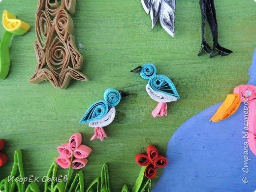 В своей работе я хочу отобразить многообразный вид пернатых занесенных в Красную книгу Алтайского края. Я постарался максимально точно передать всю красоту следующих птиц: Журавль-красавка, Черный аист, Обыкновенный фламинго, Розовый пеликан, Большая белая цапля, Турпан, Ходулочник, Кулик-сорока, Синий соловей. Птиц я разместил на фоне Алтайских гор возле озера Ая. Работа выполнена в технике Квиллинг. фото 10
