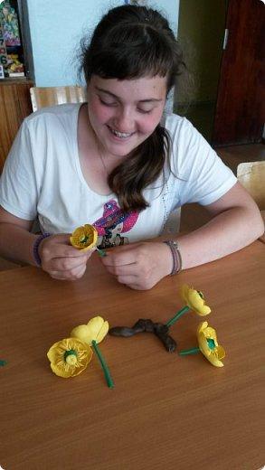 """Добрый день всем! Мы с удовольствием участвуем в этом конкурсе. Для работы выбрали тему """"Царство растений"""" и попытались изобразить часть водоёма, где растёт жёлтая кубышка. Кубышка жёлтая имеет народные названия: жёлтая кувшинка, одолень, вахта речная, вахта лесная, маковки водяные, мор куриный, мак жёлтый водяной,балаболка, бубенчики жёлтые, водолёт, вахтовик жёлтый, горляшное семя, лопух водяной, пуговка ...( lilitochka.ru ) Кубышка жёлтая - удивительной красоты растение. Своё русское название оно получило из-за схожести созревшего плода со старинным сосудом с крышечкой, которым пользовались на Руси. Это многолетний представитель водной флоры. Кубышка жёлтая распространена во многих регионах России, кроме областей Дальнего Востока и Крайнего Севера. Места её произрастания - заливы,озёра,пруды, речные тихие мелководья. Корневище растения очень ветвистое, от него расползаются десятки корней по дну водоёма. Диаметр зависит от возраста кубышки - корень взрослого растения может достигать 10 см в толщину. Стебель кубышки жёлтой практически полностью скрыт под водой, на поверхности остаётся лишь небольшая часть с цветком. Он упругий и длинный,порой достигает 2-3 метра. Мясистые крупные листья лежат на воде. Они ярко зелёного цвета,блестят на солнце, но есть и мелкие и тонкие подводные листья , часто свёрнутые и образующие подобие колпачка. Цветы кубышки жёлтые. Его """"лепестки"""" являются чашелистиками. Они окружают цветок и защищают его. В плохую погоду и в ночное время они закрыты. Большая часть цветка - тычинки с пыльниками. В центре расположена многозвеньевая завязь, в которой образуется плод растения.плод напоминает кувшин,в котором спрятаны семена. Период цветения - с мая по август. ( w w w/ anapacity. com./krasnya - kniga - Krasnodarckogo - kraya - rasteniya/ kybyshka - zheltaya.html) фото 16"""