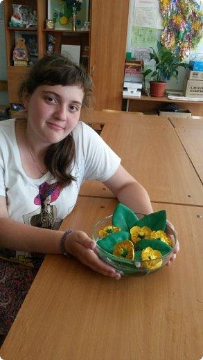 """Добрый день всем! Мы с удовольствием участвуем в этом конкурсе. Для работы выбрали тему """"Царство растений"""" и попытались изобразить часть водоёма, где растёт жёлтая кубышка. Кубышка жёлтая имеет народные названия: жёлтая кувшинка, одолень, вахта речная, вахта лесная, маковки водяные, мор куриный, мак жёлтый водяной,балаболка, бубенчики жёлтые, водолёт, вахтовик жёлтый, горляшное семя, лопух водяной, пуговка ...( lilitochka.ru ) Кубышка жёлтая - удивительной красоты растение. Своё русское название оно получило из-за схожести созревшего плода со старинным сосудом с крышечкой, которым пользовались на Руси. Это многолетний представитель водной флоры. Кубышка жёлтая распространена во многих регионах России, кроме областей Дальнего Востока и Крайнего Севера. Места её произрастания - заливы,озёра,пруды, речные тихие мелководья. Корневище растения очень ветвистое, от него расползаются десятки корней по дну водоёма. Диаметр зависит от возраста кубышки - корень взрослого растения может достигать 10 см в толщину. Стебель кубышки жёлтой практически полностью скрыт под водой, на поверхности остаётся лишь небольшая часть с цветком. Он упругий и длинный,порой достигает 2-3 метра. Мясистые крупные листья лежат на воде. Они ярко зелёного цвета,блестят на солнце, но есть и мелкие и тонкие подводные листья , часто свёрнутые и образующие подобие колпачка. Цветы кубышки жёлтые. Его """"лепестки"""" являются чашелистиками. Они окружают цветок и защищают его. В плохую погоду и в ночное время они закрыты. Большая часть цветка - тычинки с пыльниками. В центре расположена многозвеньевая завязь, в которой образуется плод растения.плод напоминает кувшин,в котором спрятаны семена. Период цветения - с мая по август. ( w w w/ anapacity. com./krasnya - kniga - Krasnodarckogo - kraya - rasteniya/ kybyshka - zheltaya.html) фото 22"""