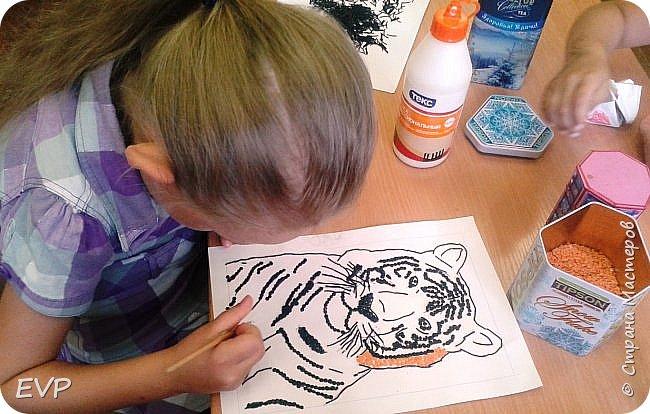 Амурский тигр - редкий подвид, сохранившийся лишь на территории России. Мы решили сделать тигра из крупы, использовали чечевицу красную, покрасила её для полосок в чёрный цвет акриловыми красками, макароны паутинка также покрашены в чёрный цвет. фото 5