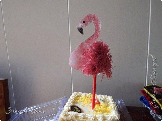 Розовый фламинго - украшение для торта фото 1