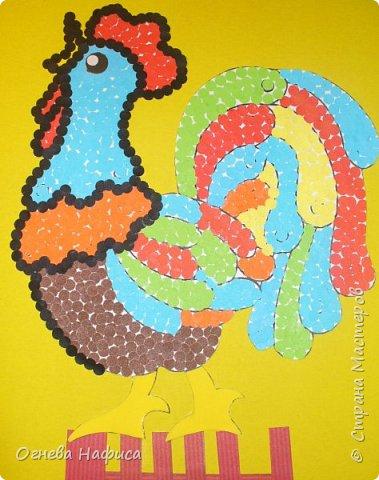 Сказочный петушок из конфетти. фото 8